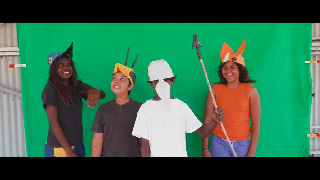 Students from the Gija Community creatively interpreting 'Jirraginy joo Goorrarndal_ Frog and Brolga